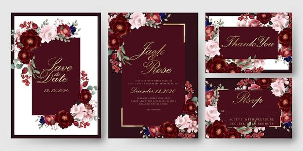 Cartões florais vermelhos do convite do casamento de borgonha Vetor Premium