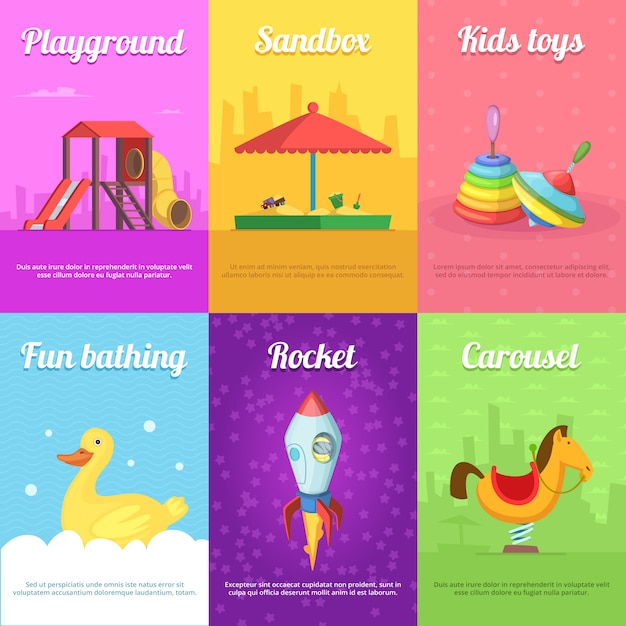 Cartões para crianças com brinquedos engraçados Vetor Premium