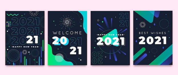 Cartões planos de ano novo de 2021 Vetor grátis