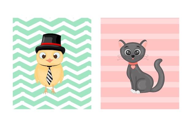 Cartões postais com animais. ilustração vetorial com coruja e gato. Vetor Premium