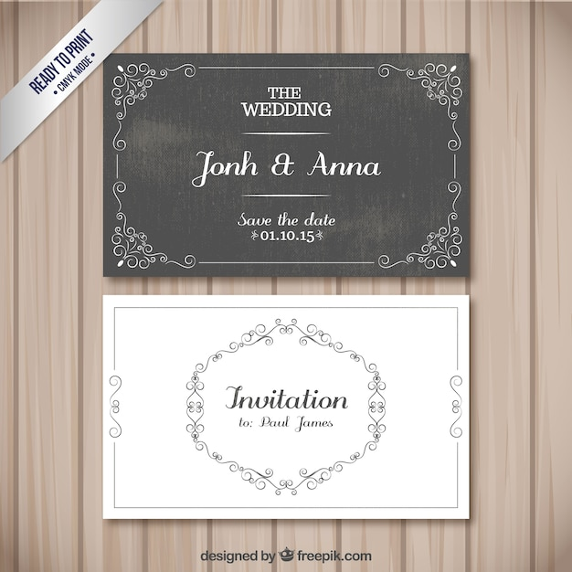 Cartões retros do casamento Vetor Premium