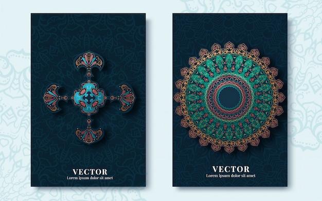 Cartões vintage com arabescos e motivos florais em estilo retro Vetor Premium