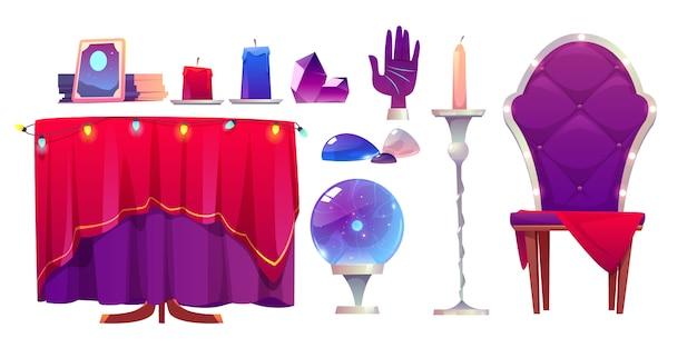 Cartomante bola mágica, cristal e espelho Vetor grátis