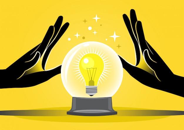 Cartomante e lâmpada Vetor Premium