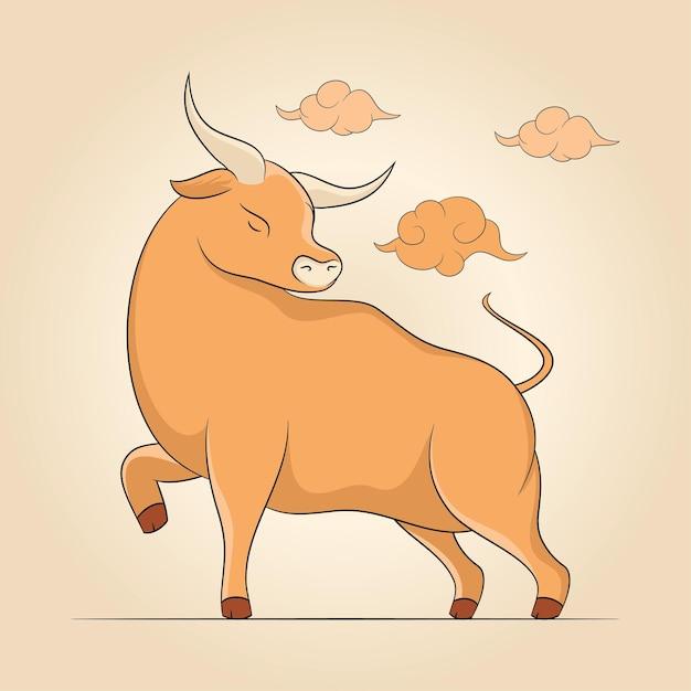 Cartoon boi bull cow isolado Vetor Premium