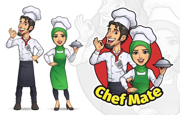 Cartoon casal chef muçulmano Vetor Premium