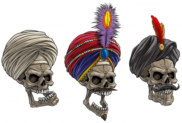 Cartoon caveiras indianas no turbante tradicional Vetor Premium