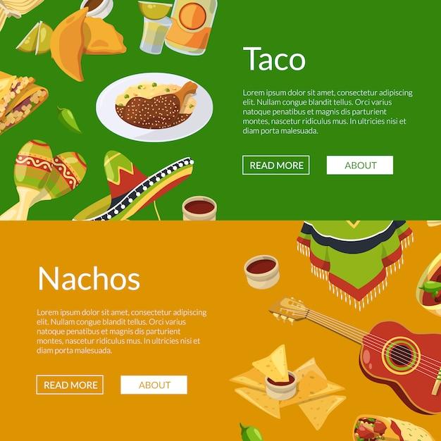 Cartoon comida mexicana web banner ilustração Vetor Premium