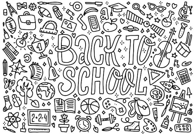 Cartoon cute doodles voltar para a escola palavra Vetor Premium