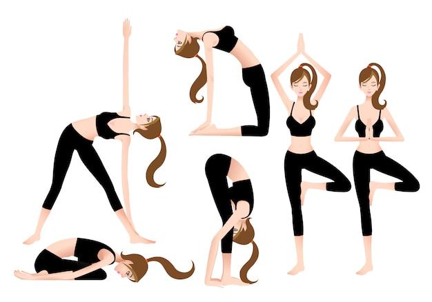 Cartoon female yoga trainer permite que você pratique yoga sozinho. Vetor Premium