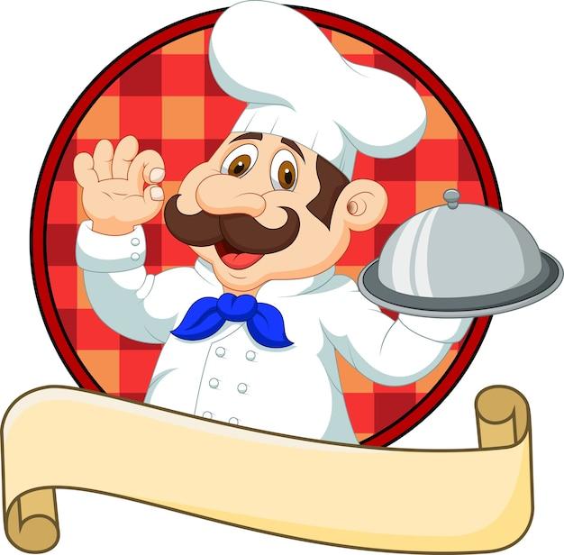 Cartoon funny chef cartoon segurando a bandeja Vetor Premium