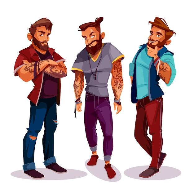 Cartoon hipsters árabes - companhia de jovens com tatuagens, roupas da moda. Vetor grátis