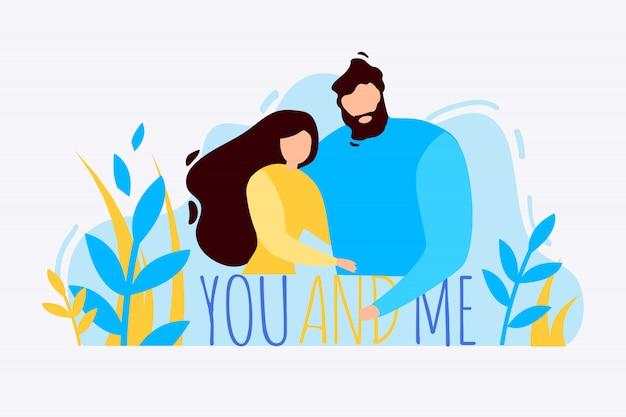 Cartoon homem mulher abraça você e eu ao ar livre Vetor Premium