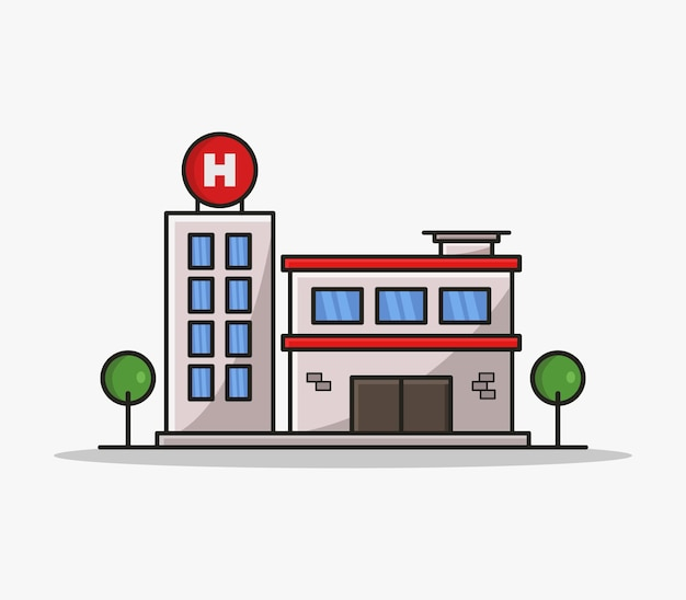 Cartoon illustrated hospital Vetor grátis