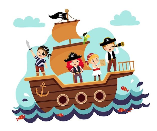 Cartoon ilustração de crianças piratas no navio no mar. Vetor Premium