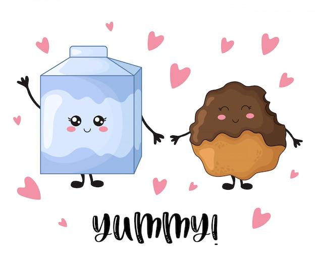 Cartoon kawaii alimentos doces com biscoitos de chocolate e leite Vetor Premium