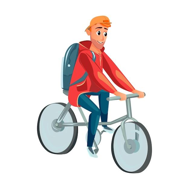 Cartoon man ride bicycle ciclismo ciclista masculino Vetor Premium