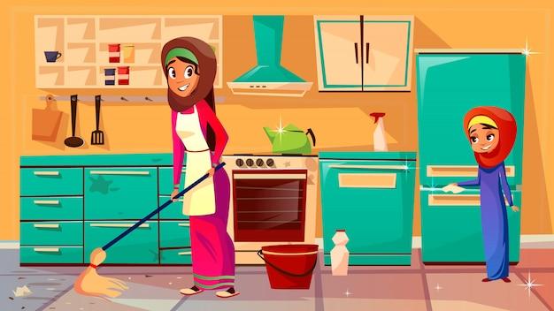 Cartoon muçulmano khaliji mãe, filha em hijab limpeza cozinha juntos Vetor grátis