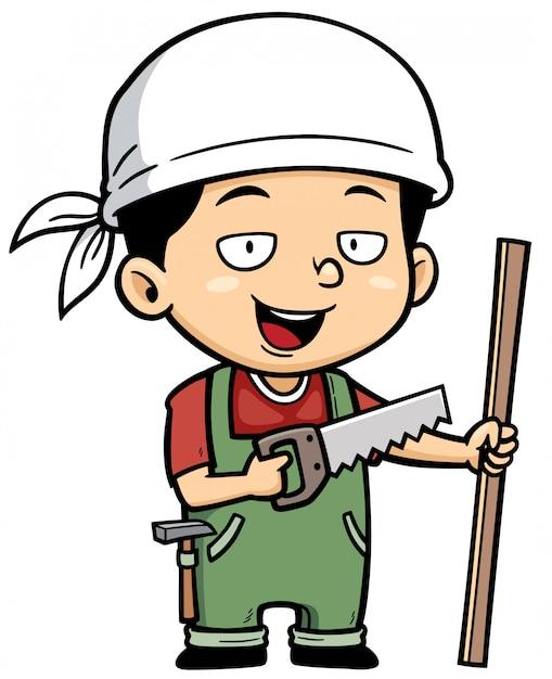 Cartoon pequeno carpinteiro Vetor Premium
