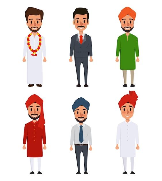 Cartoon personagem indiano de cultura diferente. Vetor Premium