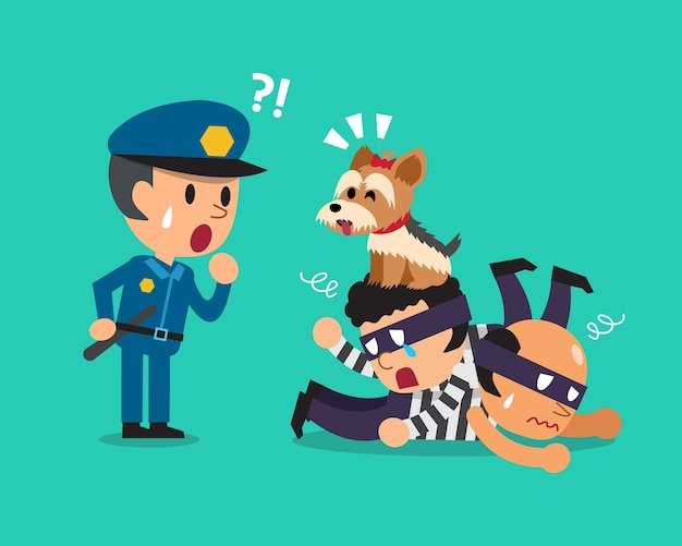 Cartoon um cão bonito ajudando policial para pegar ladrões Vetor Premium