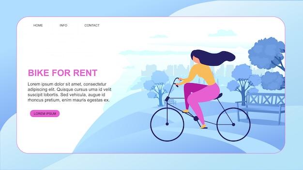 Cartoon woman rent bike cidade eco transporte Vetor Premium