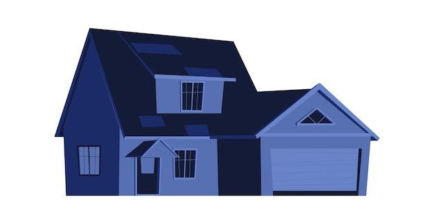 Casa à noite, construção com janelas brilhantes no escuro, desenho animado Vetor grátis