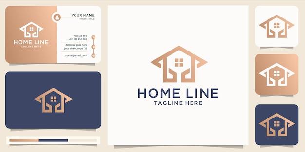 Casa abstrata linha arte estilo minimal design.gold casa de luxo com combinação de conceito de seta, ícone para empresa de negócios, ícone e modelo de vetor de cartão de visita. vetor premium Vetor Premium