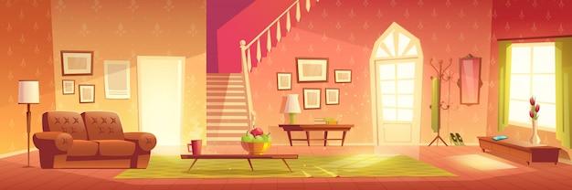 Casa acolhedora sala interior dos desenhos animados Vetor grátis