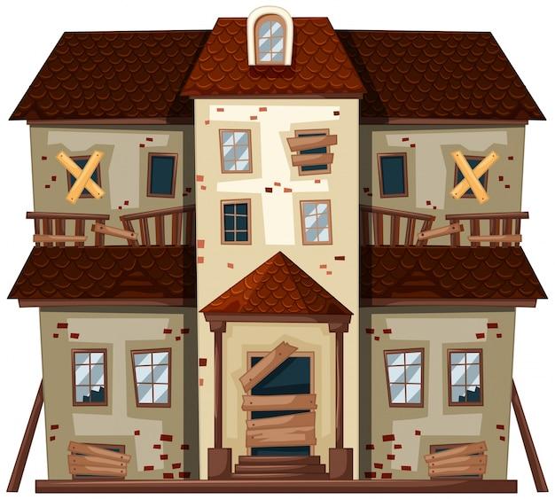 Casa antiga com janelas quebradas Vetor Premium