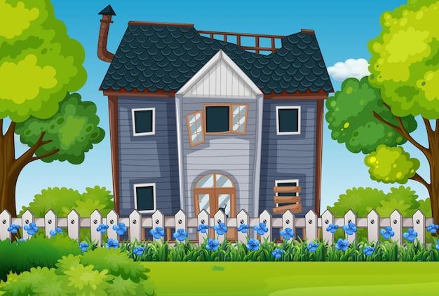 Casa antiga com lindo jardim Vetor Premium