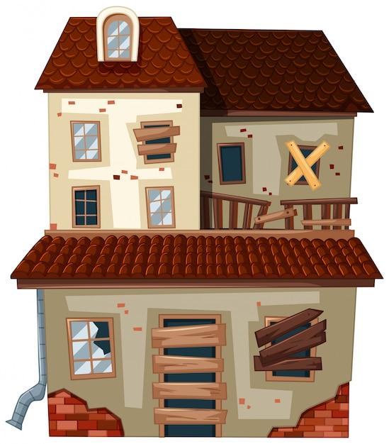 Casa antiga com telhado vermelho Vetor Premium