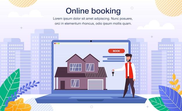 Casa, apartamento reserva on-line flat banner Vetor Premium