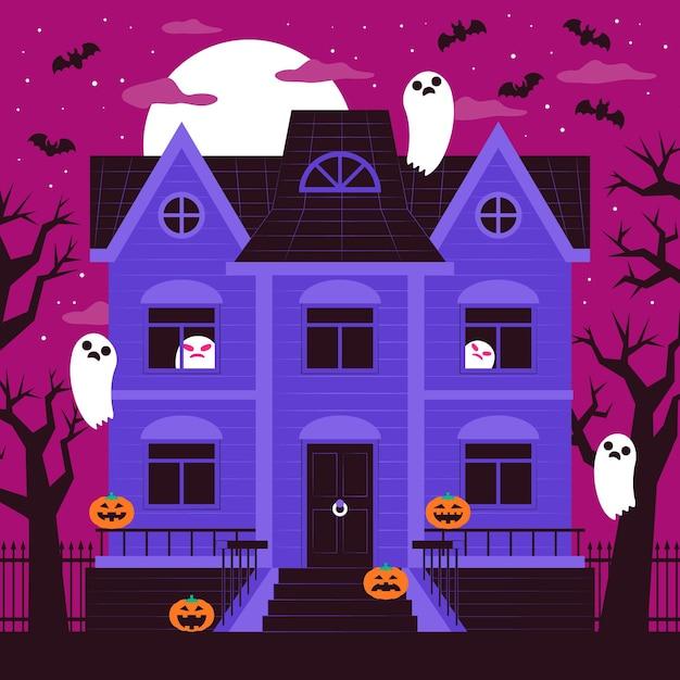 Casa assustadora de halloween com design plano Vetor grátis