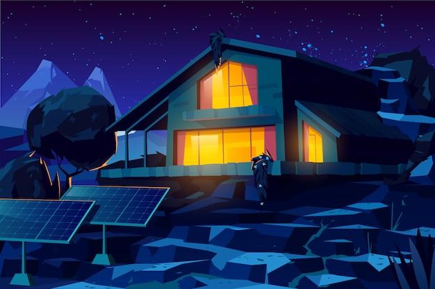 Casa autônoma com desenho de painéis solares Vetor grátis