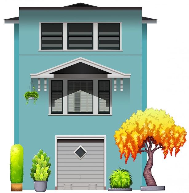 Casa azul Vetor grátis