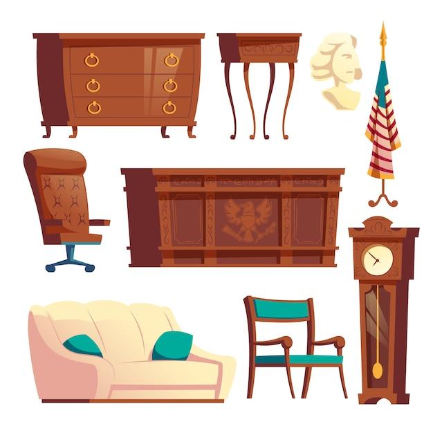 Casa branca oval escritório de madeira móveis dos desenhos animados vector set Vetor grátis