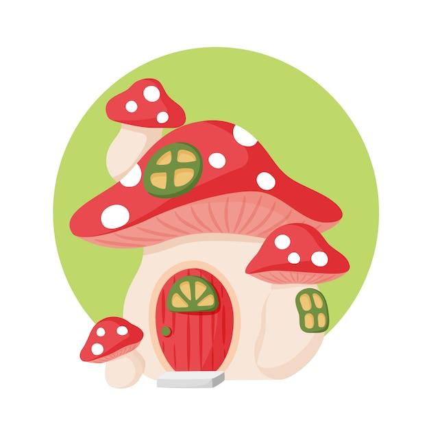 Casa cogumelo Vetor Premium