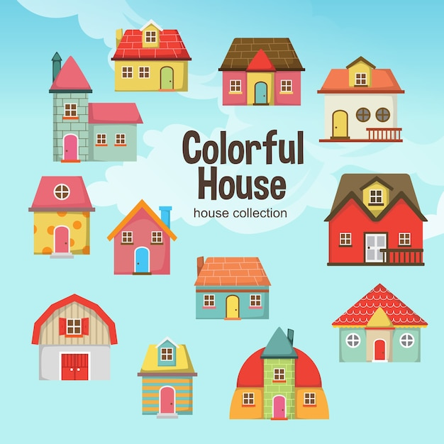 Casa colorida Vetor Premium