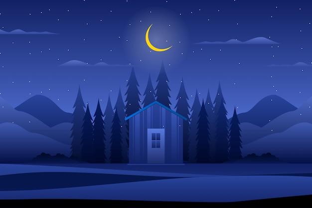 Casa com floresta da noite Vetor Premium