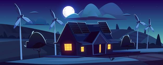 Casa com painéis solares no telhado e turbinas eólicas à noite. geração de energia amiga do ambiente, conceito de energia verde. paisagem dos desenhos animados com casa de campo moderna, moinhos de vento e lua no céu Vetor grátis