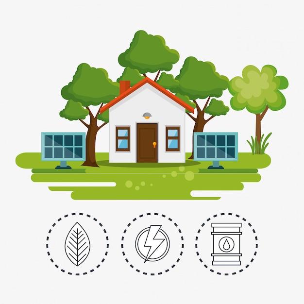 Casa com salvar o ícone do mundo Vetor grátis