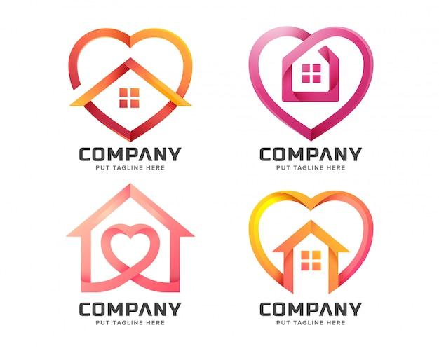 Casa criativa com modelo de logotipo de forma de amor Vetor Premium