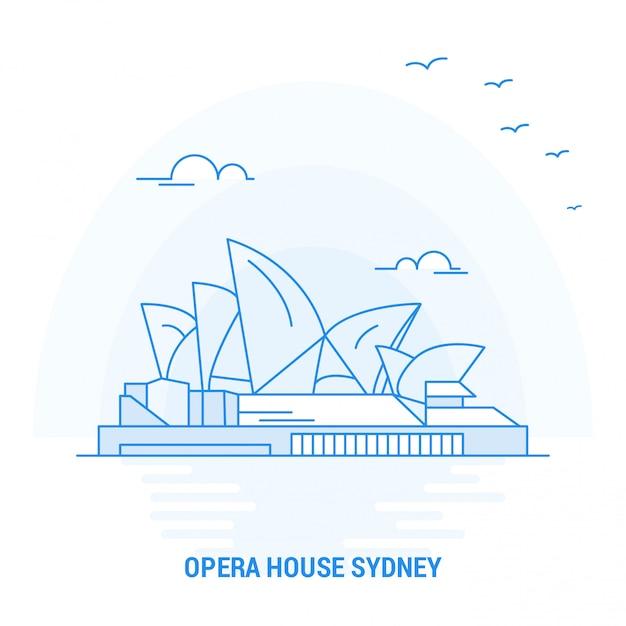 Casa da ópera blue landmark Vetor Premium
