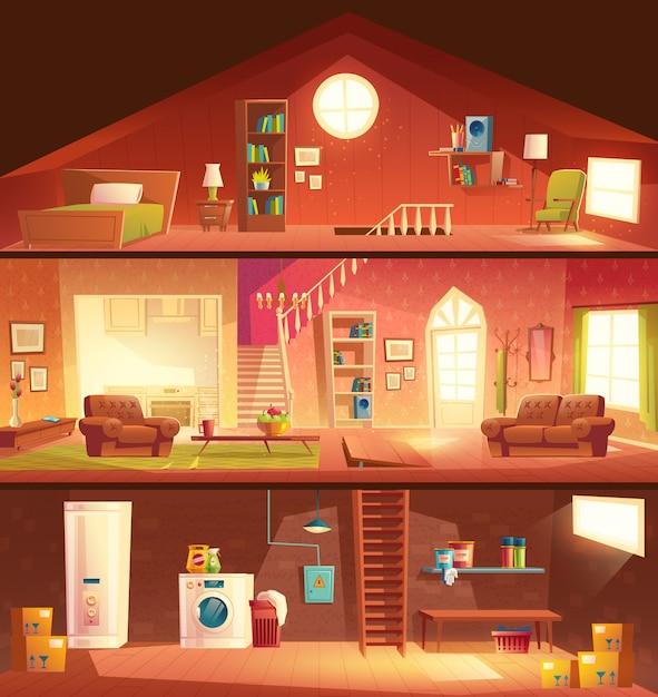 Casa de árvore andares ou cottage seção transversal edifício vector cartoon interiores conjunto com lavanderia no porão, confortável, ensolarado sala de estar ou hall, cozinha studio, quarto aconchegante no sótão ilustração Vetor grátis