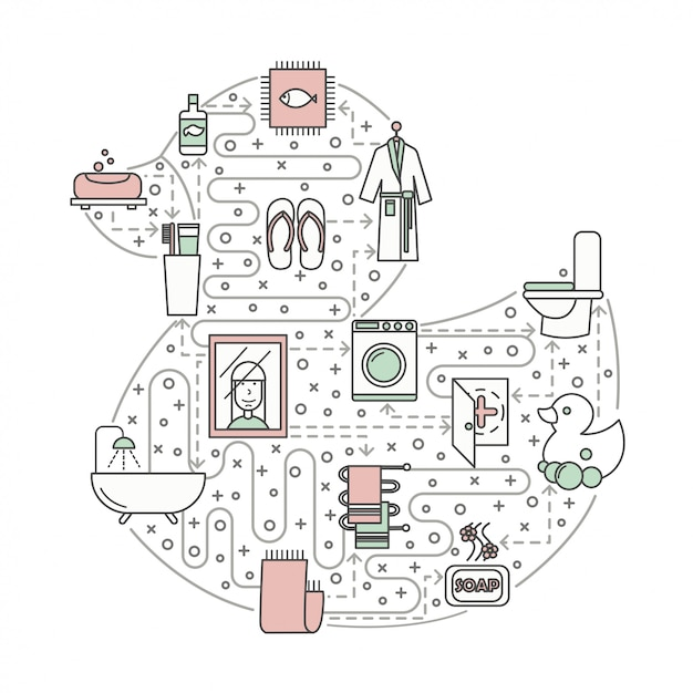 Casa de banho conceito linha plana arte ilustração Vetor Premium