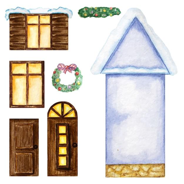 Casa de bue bonito dos desenhos animados, janelas de madeira escuras, portas, construtor de decorações de natal em fundo branco. Vetor Premium