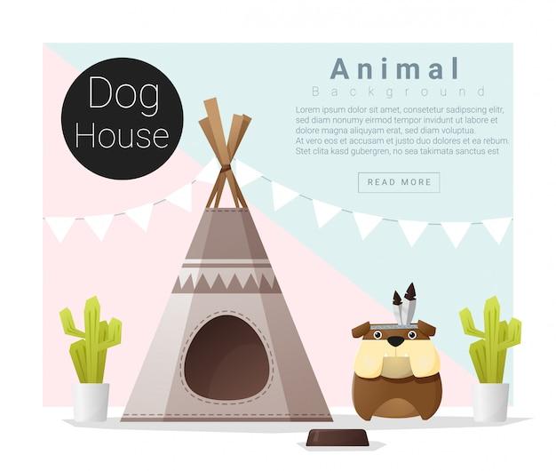 Casa de cachorro bonito coleção animal Vetor Premium