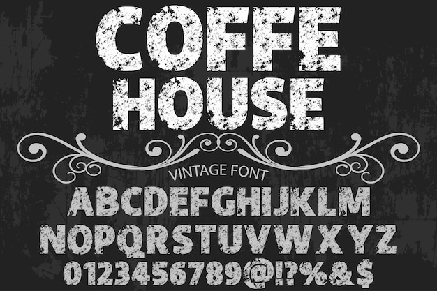 Casa de café de design de rótulo de alfabeto vintage Vetor Premium