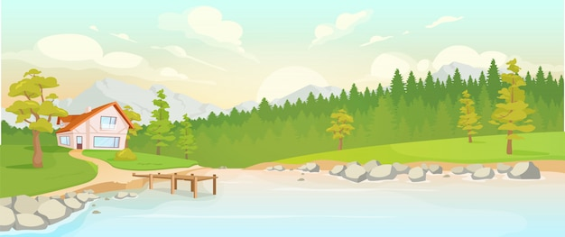 Casa de campo ao lado da ilustração de cor do rio Vetor Premium